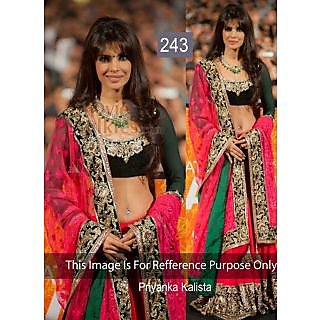 Priyanka Pink And Black Embroidery Work Bollywood Lehenga Choli