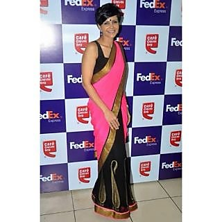 Bollywood Sarees: Mandira Bedi Pink Georgette Stylish Bollywood Saree