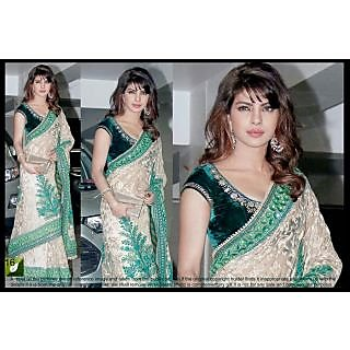 Bollywood Replica  Priyanka Chopra Off White & Green Saree