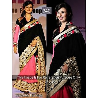 Divyanka Tripathi Black And Pink Net Bollywood Saree