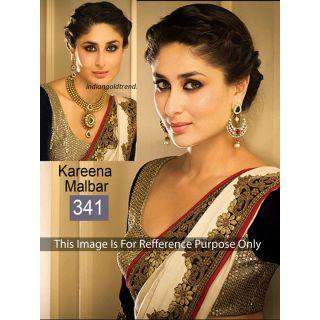 Kreena White And Black Patch Border Bollywood Saree