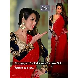 Malaika Apple Red Fancy Designer Bollywood Saree