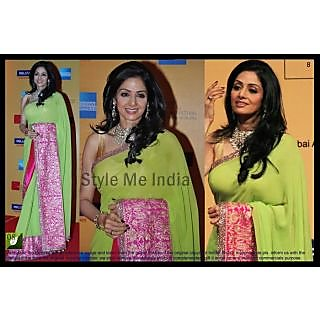 Bollywood Designer Sridevi Apple Green With Pink Border Saree