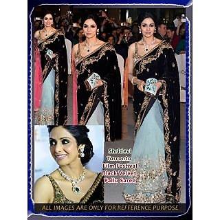 Sridevi Torronto Film Festival  Bollywood Replica Black Pallu Designer Saree