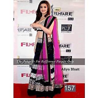 Alia Bhatt Black And Pink Embroidery Work Bollywood Lehenga Choli