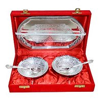 Exculsive Silver Plated Brass Bowl Set Of 2 Pcs With Box Packing