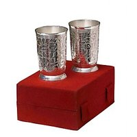 Exculsive Silver Plated Brass Water Glasses Set Of 2 Pcs With Box Packing