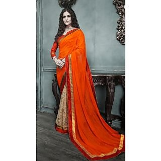 Magnum Opus Store Orange & Beige Color Georgette Saree.