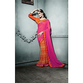 Magnum Opus Store Dusty Pink & Orange Color Georgette Saree.