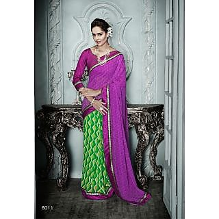 Magnum Opus Store Purple & Green Color Georgette Saree.
