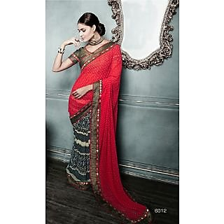 Magnum Opus Store Red & Black Color Georgette Saree.