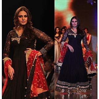 Bollywood Replica Front And Back Embroidered Black Gown Huma Qureshi