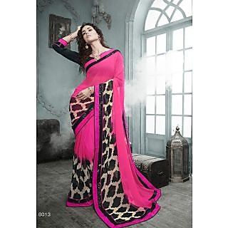 Magnum Opus Store Pink Color Georgette Saree.