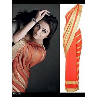 Indian Designer Bollywood Replica Actress Aishwariya  In Orange Saree