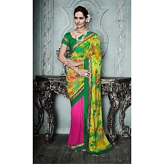 Magnum Opus Store Pink & Yellow Color Georgette Saree.