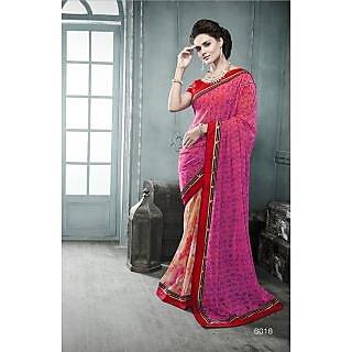 Magnum Opus Store Pink & Beige Color Georgette Saree.
