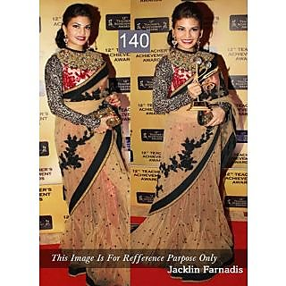 Brown With Black Embroidery Work Bollywood Saree