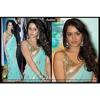 Shradhdha Kapoor Chiffon Sky Blue Saree