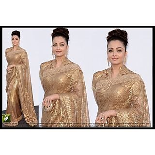 Brown Net Bright Fancy Designer Bollywood Saree