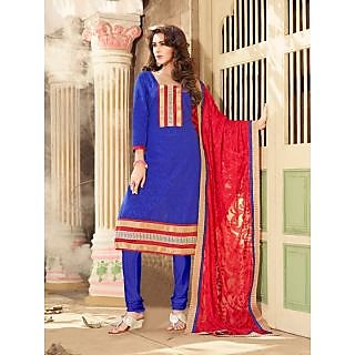 Magnum Opus Store Blue Color Chanderi Cotton Straight Cut Suit.