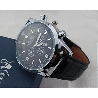 Imported Men Designer Black Leather Strap Watch