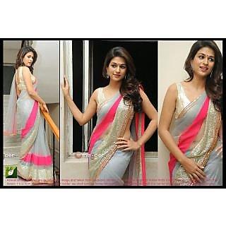 Grey And Pink Designer Half N Half Bollywood Saree