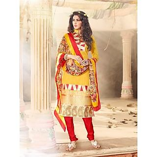 Magnum Opus Store Yellow Color Chanderi Cotton Straight Cut Suit.