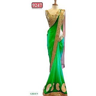 Green Color Net Embroidered  Designer Sarees