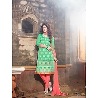 Magnum Opus Store Light Green Color Chanderi Cotton Straight Cut Suit.