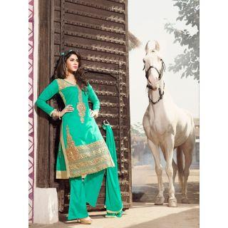 Magnum Opus Store Light Green Color Chanderi Cotton Straight Cut Suit.