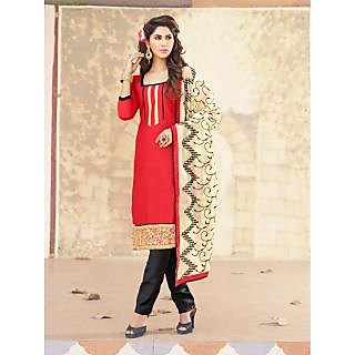 Magnum Opus Store Red Color Chanderi Cotton Straight Cut Suit.