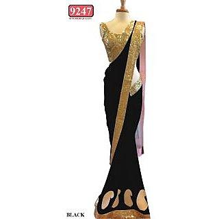 Black Color Net Embroidered  Designer Sarees