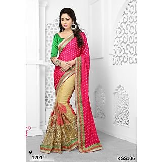 Kiteshop New Latest Half Pink Designer Saree