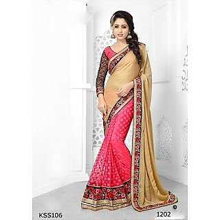 Kiteshop Party Wear Cream And Pink Designer Saree