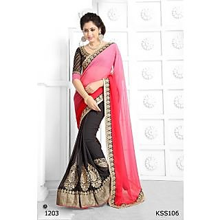 Kiteshop  New Look Black And Pink Designer Saree