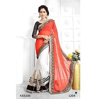 Kiteshop Beautiful Designer White And Orange Designr Saree