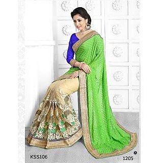 Kiteshop Green And Cream Embroidered Designer Saree