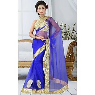 BlueBerry Fashions Replica Blue Color Net Fabric Party Wedding Wear Saree Sari