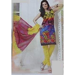 Multicolor Pure Cotton Unstitched Dress Material