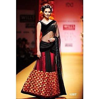 Special...esha Gupta In Simple Black With Red Lehenga Saree 1
