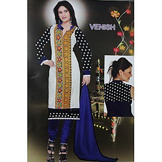 Anarkali White And Blue Long Dress With Dupatta