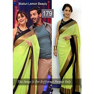 Madhuri Lemon Green With Black Patch Border Bollywood Saree