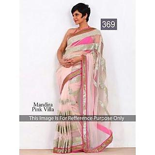 Mandira Pink Net Embroidery Work Saree