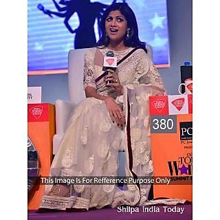 Shilpa Shetti Net White Designer Work Saree