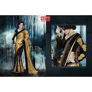 Stylish Black&golden  Color Embroidery Worked Georgette Designer Saree