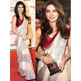 Bollywood Priyanka Chopra Golden Color Saree