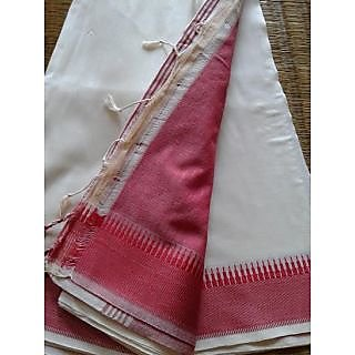 Cotton Saree In Cream With A Red Naksha Border And A Red Blouse Piece