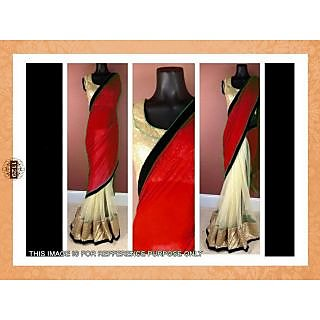 Bollywood Replica Red And Cream Half Half Chiffon Net Saree