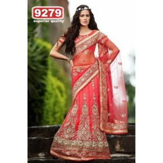Stylish Pink Color Embroidery Worked Net Designer Lehengas Saree