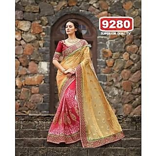 Pink & Cream Color Net Embroidered  Designer Sarees